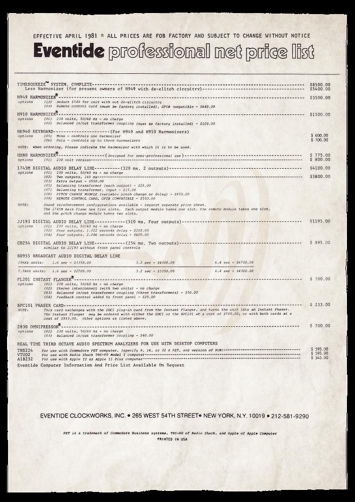 Eventide Price List